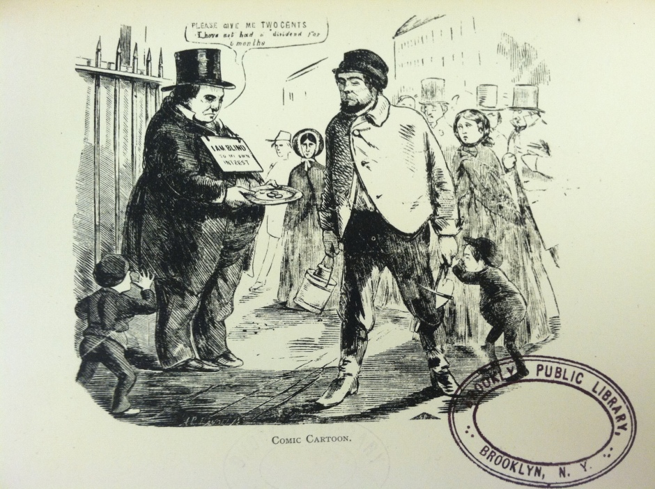 "Cartoon protesting the doubling of the fare to two cents. Millionaire: ""Please give me two cents. I have not had a dividend for 6 months."" Sign: ""I am blind to my own interest"""